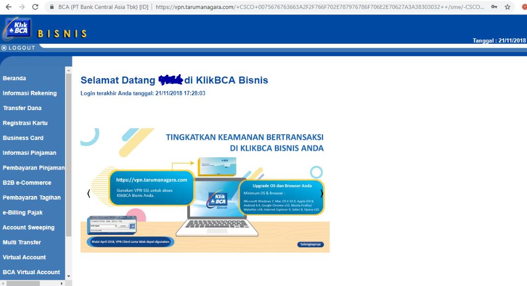 VPN Tarumanagara buat akses KlikBCA Bisnis